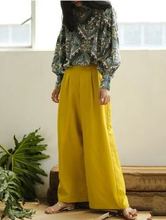Yellow H-line Casual Wide Leg Pants