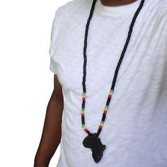 wooden africa map necklace