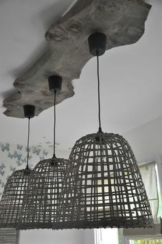 Wooden plank to hold custom made triple dining lamp
