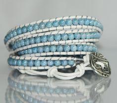 Robins Egg Blue on White Leather. Beaded Leather Wrap Bracelet.