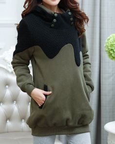 Stylish Hooded Long Sleeve Button Design Solid Color Women's Hoodie Sweatshirts & Hoodies | RoseGal.com Mobile
