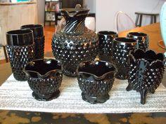 Beautiful Black Milk Glass set