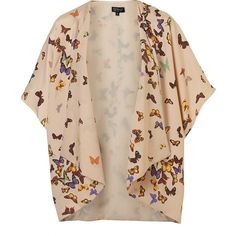 Multi Butterfly Print Kimono ($100) ❤ liked on Polyvore featuring outerwear, cardigans, jackets, tops and women
