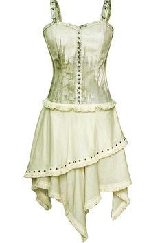 Vintage Goth Printed Canvas Corset Dress  ~ Love the style, perhaps a color change?