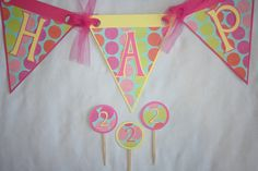 Items similar to Girl Birthday or Baby Shower Banner - Light Pink, Light Blue, Dark Pink, Yellow, Orange Polka Dots on Etsy Girl Birthday, Birthday Ideas, Cute Banners, Party Time, Diy Crafts, Baby Shower, Unique Jewelry, Handmade Gifts, Vintage