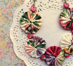 Vintage Fabric Yoyo Yo yo Button Necklace Floral | The Shop Around The Corner | madeit.com.au