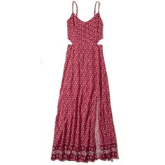 Hollister Cutout Woven Maxi Dress ($50) ❤ liked on Polyvore featuring dresses, dark pink pattern, boho maxi skirt, cut out maxi dress, boho maxi dress, red dress and v-neck camisoles