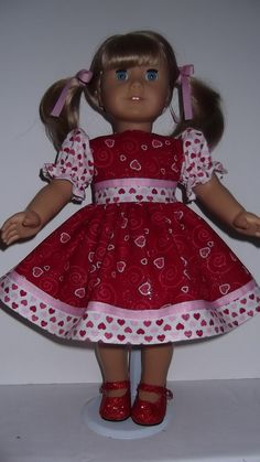American Girl Doll Clothes - Red Valentine  Dress and Shoes, $18.50