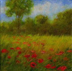 Field of Poppies - © 2009 Jan Blencowe - field poppies landscape flowers wildflowers impressionist Painting