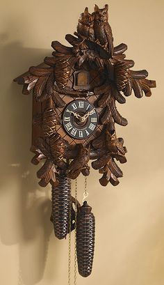 Carved Owls Cuckoo Clock, Black Forest Germany