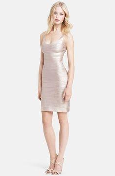 Herve Leger U-Neck Foil Bandage Dress on shopstyle.com