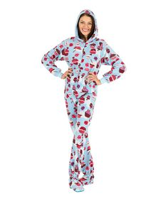 Light Blue Cupcake Hooded Footie Pajamas - Adult - Perfect for Christmas Morning