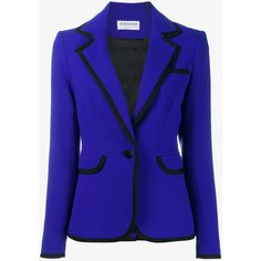 Osman Osman Contrast Trim Jacket ($380) ❤ liked on Polyvore featuring outerwear, jackets, blazers, blue, blue blazer jacket, blue blazer, osman, blue jackets and blazer jacket