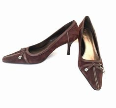 8db86d3d82d Etienne Aigner Pumps Size 8.5 Brown Leather Slip On Narrow Toe Shoes Heels   EtienneAigner