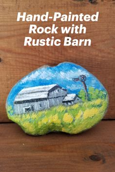 Charming rustic gray weathered barn lovingly hand-painted on rock. Rendered in acrylics and sealed with clear satin varnish, use this rock inside or outdoors. Makes an unusual gift for Father's Day, birthday, anniversary, etc. Initialed on the side. Collector's item--see more of my painted rocks at my Etsy shop. Hand Painted Rocks, Painted Stones, Barn Art, Online Gift, Small Art, Unusual Gifts, Rustic Barn, Stone Art, Handmade Decorations