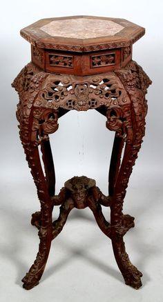 chinese carved wood table | 19th C. Chinese Wood carved Table : Lot 3365