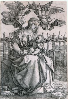 Albrecht Dürer ~ Virgin and Child Crowned by Two Angels, 1518