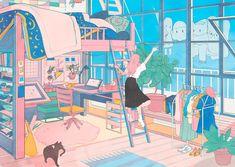 Bedroom window illustration 66 Ideas for 2019 Art And Illustration, Character Illustration, Aesthetic Art, Aesthetic Anime, Korean Aesthetic, Aesthetic Drawing, Pretty Art, Cute Art, Character Art