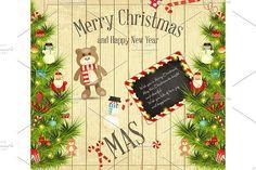 Christmas card. Wooden #christmas #vector
