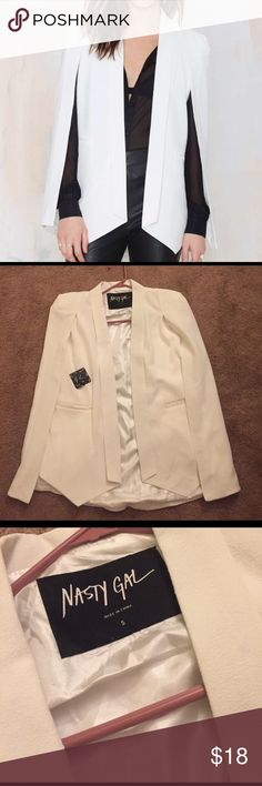 Nasty gal Champagne Taste Cape Blazer New with tags white champagne cape blazer. Faux pockets in front. Lightweight material. Size S. Nasty Gal Jackets & Coats Capes