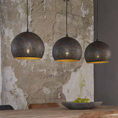 Suspended lamp pendant lamp PUNCH 3 Shades Black Brown- Hängeleuchte Pendelleuchte PUNCH 3 Schirme Schwarz Braun Pendant lamp PUNCH, The three umbrellas are made of black-brown metal, which was cleverly perforated. Decor, Floor Lamp, Hanging Lamp, Beautiful Lamp, Lamp Decor, Vintage Lamps, Modern Lamp, Lamps Living Room, Room Lamp