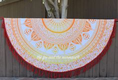 Yellow ombre round beach blanket picnic by TheFoxAndTheMermaid