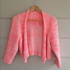 MOTH Anthropologie pink neon cardigan size Small SUPER cute cardigan!!!! Tag says Size large, but it runs super small and fits Size 2-4 Small comfortably!! Bolero cropped cardigan. No holes or pulls! Excellent condition!! Anthropologie Sweaters Cardigans