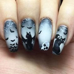 Halloween Black Cat 'n Bat Nails Holiday Nail Designs, Halloween Nail Designs, Black Nail Designs, Halloween Nail Art, Holiday Nails, Halloween Fun, Cat Nail Art, Cat Nails, Coffin Nails
