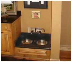 Built in dog bowl, with a faucet... SO CLEVER!!! They also can't grab their bowls and brig the and drop them on the floor as soon as they're done. Some storage underneath for food- might need a lock!