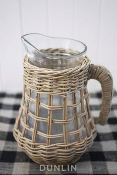 Southampton glass and rattan water jug by Dunlin Willow Weaving, Basket Weaving, Bamboo Weaving, Bamboo Canes, Basket Crafts, Magazine Crafts, Upcycled Home Decor, Newspaper Crafts, Ceramic Tableware
