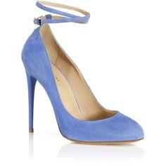 Aquazzura Blue Daiquiri Pump (€500) ❤ liked on Polyvore featuring shoes, pumps, heels, sapatos, salto, ankle strap stilettos, leather sole shoes, ankle strap shoes, leather pumps and blue stilettos