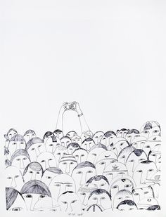 This crowd portrait is before the mobile phone era for sure! Illustration by Ningeokuluk Teevee