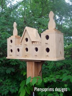 Birdhouse.8 nest castle bird house,castle folk art dollhouse display