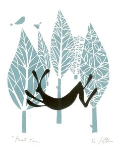 #Hare #Lino Print  Blue #Woodland £20.00