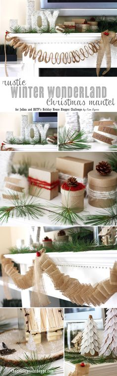 Rustic Winter Wonderland Christmas Mantel ~ my creation for @HGTV and @J O-Ann Fabric and Craft Stores HGTV Holiday House Blogger Challenge! |  TheCelebrationShoppe.com