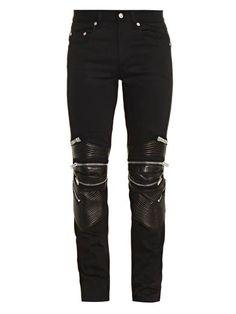 Leather-detail biker jeans | Saint Laurent | - they should be mine!