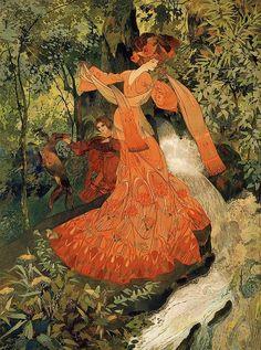 Elegante près d'une Source, 1903, by Georges de Feure (1868-1943)