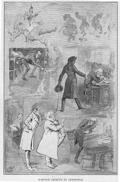 """""""Scrooge objects to Christmas"""" by Harry Furniss — second illustration for """"A Christmas Carol"""" (1910)"""
