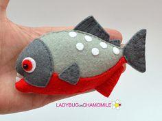 Felt PIRANHA, stuffed felt Piranha magnet or ornament, Piranha toy, Nursery decor, Piranha , Felt Fish, River fish, Amazonian, jungle