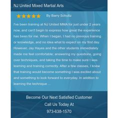 I've been training at NJ United MMA for just under 2 years now, and can't begin to express...