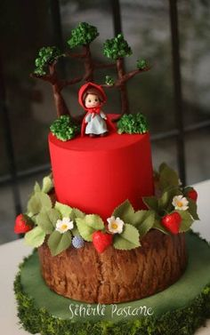 Little Red Riding Hood Cake - Cake by Sihirli Pastane wedding card Little Red Riding Hood Cake Fondant Cupcakes, Cupcake Cakes, Chocolate Cupcakes, Chocolate Ganache, Red Cupcakes, Baby Cakes, Girl Cakes, Beautiful Cakes, Amazing Cakes