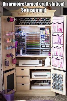 Ideas Craft Storage Armoire Diy Furniture For 2019 Craft Room Storage, Craft Storage Furniture, Craft Storage Cabinets, Craft Cabinet, Sewing Cabinet, Craft Organization, Diy Furniture, Organizing Ideas, Paper Storage