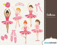 buy 2 get 1 free Cute Ballerina Girls clipart for personal and commercial use ( ballet clip art )