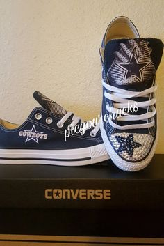 8b38826263c19c Dallas Cowboys Custom Converse.    DESCRIPTION    These shoes come in navy  blue low top or hitops and the crystals are optional (see drop down for  pricing ...