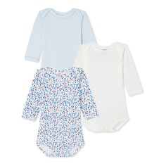 Set of 3 baby girl's printed and plain long-sleeved bodysuits