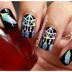 Black rainbow dreamcatcher feather nail art
