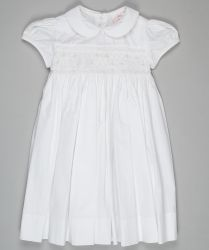 A traditional white hand smocked and embroidered dress #Annafie christening dress #christening dress #baptism dress #girl's christening outfit #girl's baptism outfit