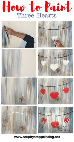 Beginners can learn how to paint three hearts on a string against a wood texture background. Easy, simple an fun! Step by step painting tutorials by Tracie Kiernan.