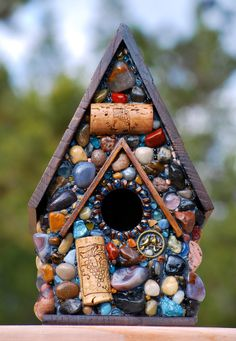 Mosaic Garden Birdhouse with colorful stones and Wine corks. $85.00, via Etsy.