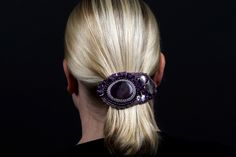 Wine string - The warm purple color of the amethyst combined with jasper is a compliment to almost any hair color and type. - #jrhaarsieraad